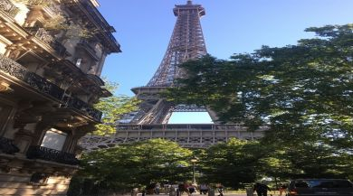 Soaking in last minute views of the Eiffel Tower