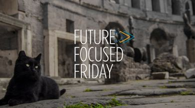 "Black cat in street with ""Future Focused Friday"" logo in center"