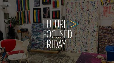 Future Focused Friday Logo over Art Room background