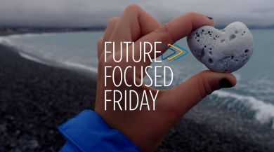 "Student holding a heart-shaped rock with the ""Future-Focused Friday"" logo layered over the image"