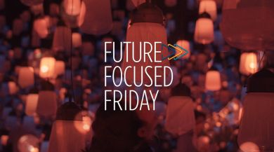 Tiny lanterns rising in the sky with Future Focused Friday logo laid on top in the center