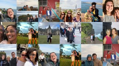 collage of ies abroad staff traveling with their mothers