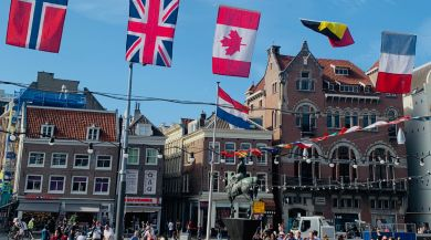 Flags around the world hanging in Amsterdam