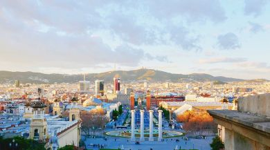 Panoramic scene of Barcelona
