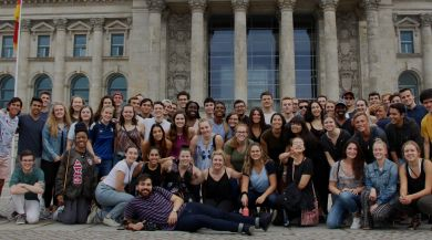 group photo of students in front of Bundestag in Berlin, Germany