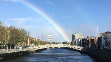 View of Dublin along with River Liffey with a Rainbow