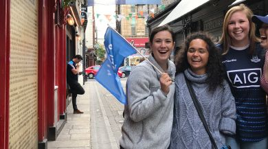 Students in downtown Dublin