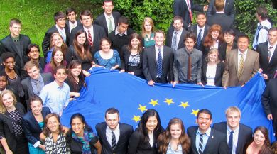 Students with European Union flag