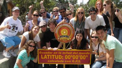 Group of Quito study abroad students at the equator