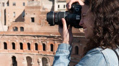 A Rome film study abroad student taking a picture