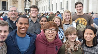 A group of Rome study abroad students at the Papal audience