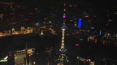 Shanghai at night from above