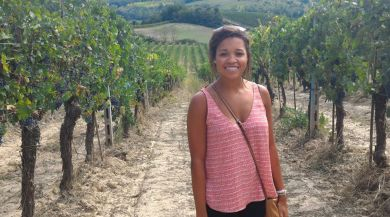 Siena study abroad student in vineyard