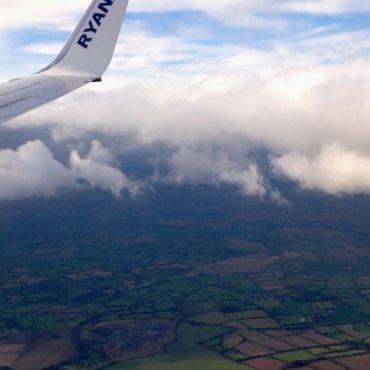 view from a plane flying over ireland