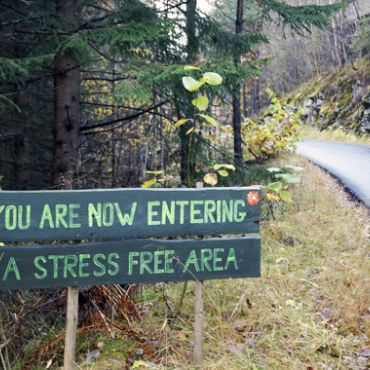 "Sign on side of road in forest that reads ""You are now entering a stress free area"""