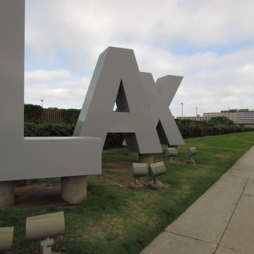 Los Angeles Airport sign before take-off to New Zealand