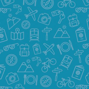 default blog image with travel icons on a blue background