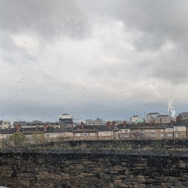 Dublin skyline through rainy window