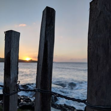 Image of Irish seaside through fenceposts