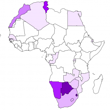 Map of tourism prevalence in Africa