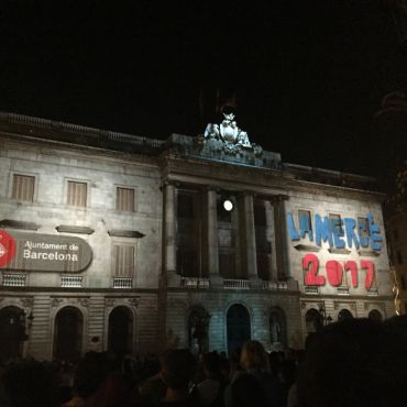 La Merce projected over building