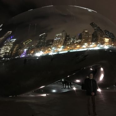 The Chicago Bean Sculpture at night