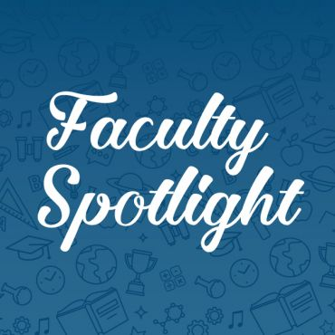 faculty spotlight banner on blue background with travel icons