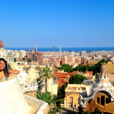 IES Abroad student over looking the Parc de Guell in Spain