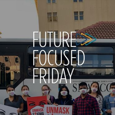 group of students holding signs, with Future Focused Friday logo overlay