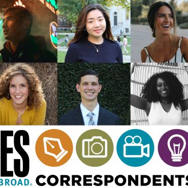 grid of headshots of students with ies abroad correspondents logo