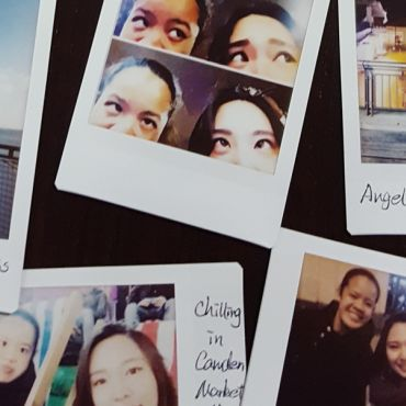 Polaroid pictures of Lydia Carr and friends