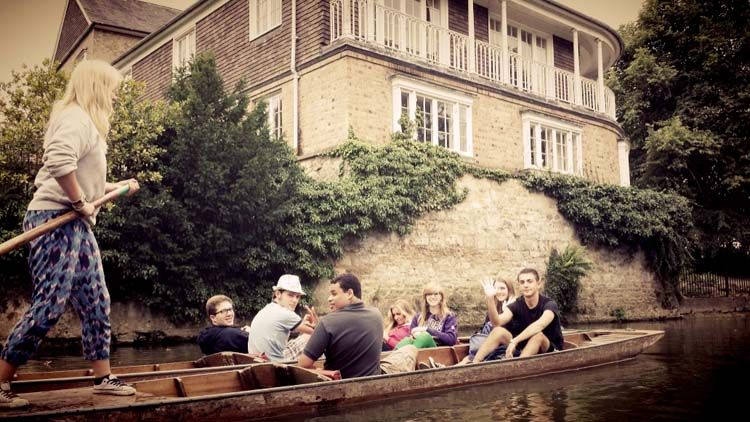 Students in a boat