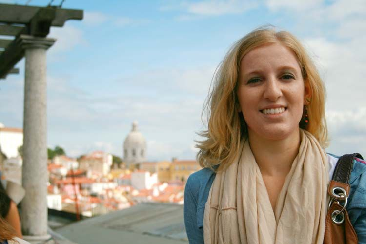 Student in front of Madrid skyline