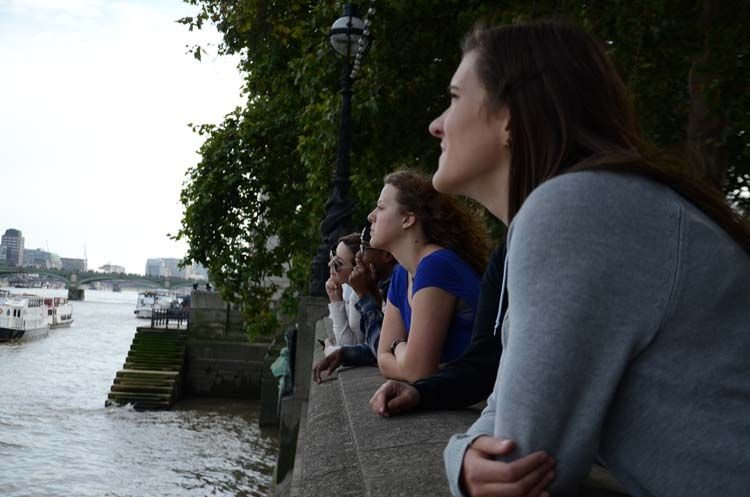 Gazing across the Thames in London