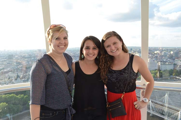 Students with a skyline view of London