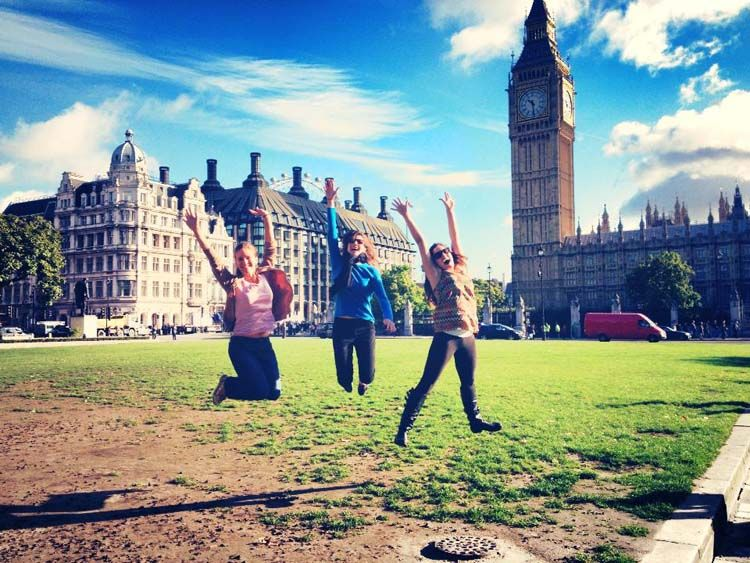 Students jumping in front of Big Ben