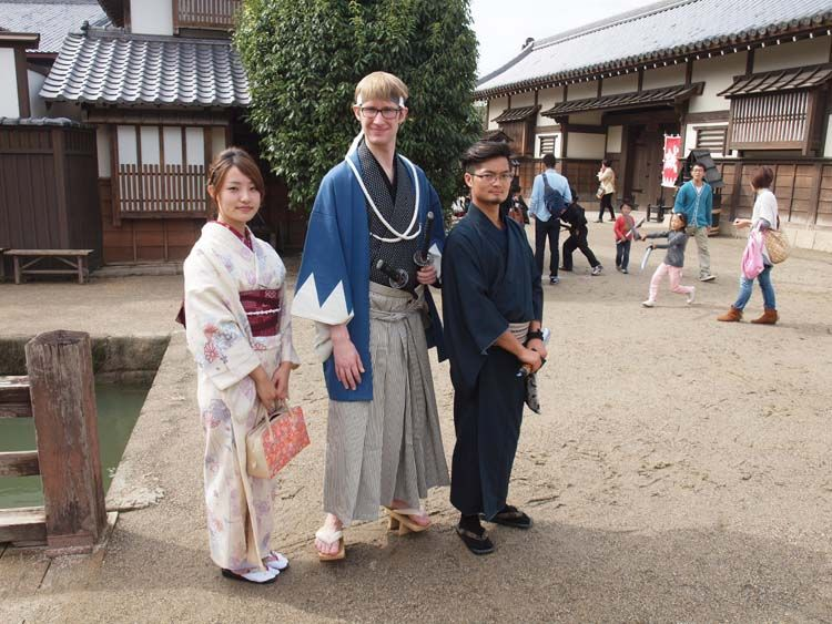 Students wearing traditional Japanese clothing