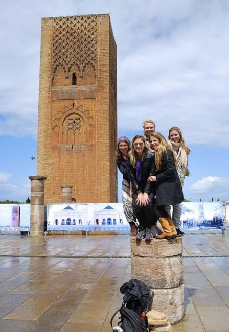 Students posing by Hassan Tower