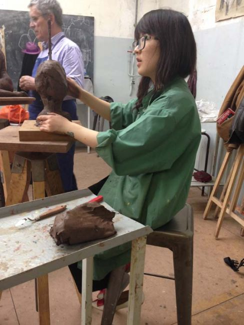 Beginning a sculpture with clay