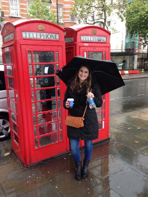 Student in front of phone booths