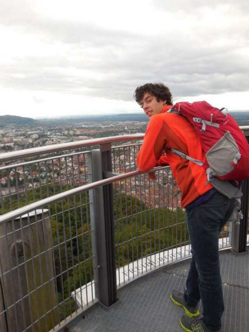 Students looking out over Freiburg