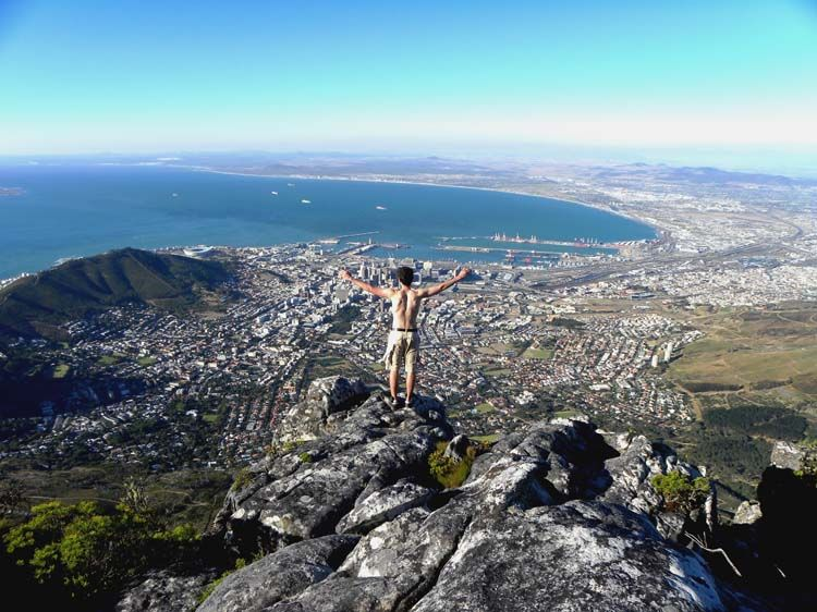 A view of Cape Town from high on the rocks