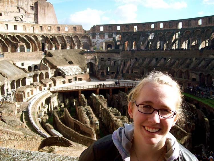 Student at the Colosseum in Rome
