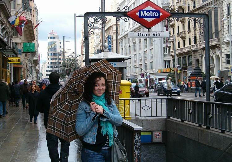 By the metro in Madrid