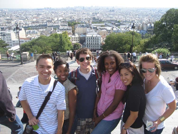 Students in front of Paris skyline