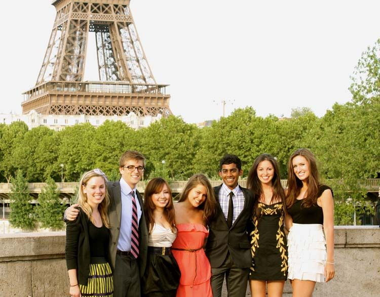 Paris students by the Eiffel Tower