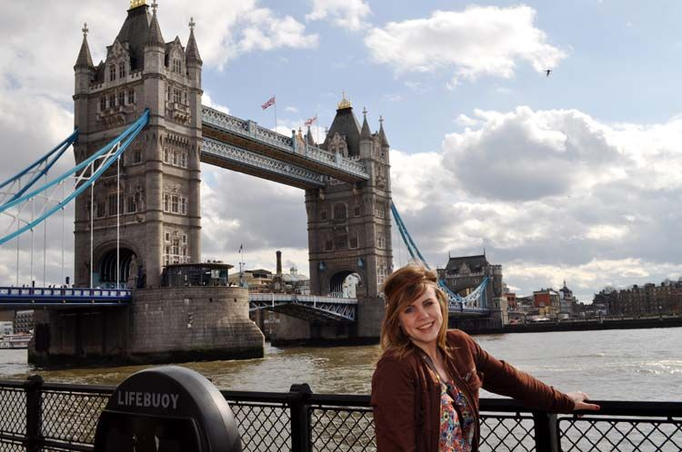 Student standing by Tower Bridge