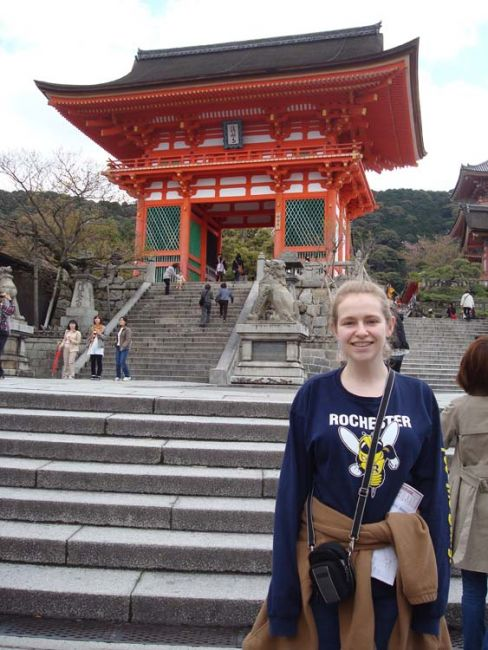 Student in front of Kiyomizu Temple in Kyoto