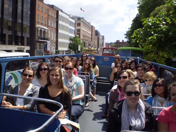 Dublin students taking a tour of the city