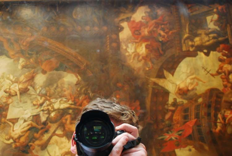 Student photographing artwork